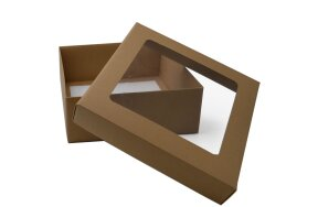 KRAFT PAPER BOX WITH WINDOW 25x25,5x10cm SET/3